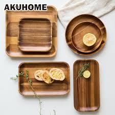 assiettes en bois aliexpress com acheter acacia en bois plateau assiette