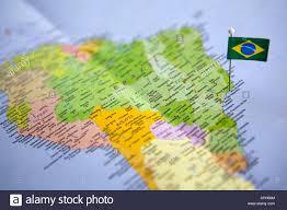 de janeiro on the world map flag pin placed on world map in de janeiro brazil stock photo