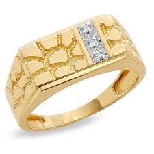 gold square rings images Men 39 s diamond accent rectangle nugget ring in 10k gold diamond jpg