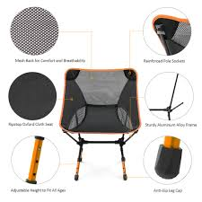 Ultra Light Folding Chair Lixada Portable Ultralight Folding Camping Chair Adjustable Height