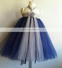 gray silver and navy blue flower dress birthday dress