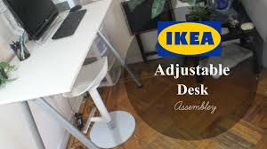 Adjustable Height Desk Electric Ikea by Ikea Adjustable Desk Assembly Youtube