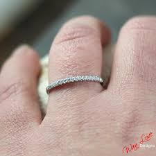 wedding band ring thin half eternity stackable 14k 18k