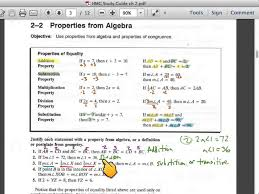 geometry 2 2 study guide properties of algebra and intro to