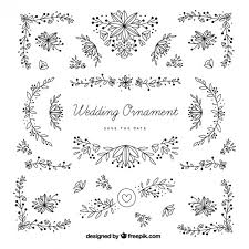 wedding ornaments with leaves vector free