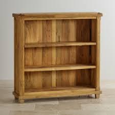 Short Narrow Bookcase by Baku Light Natural Solid Mango 3 Shelf Display Unit