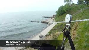 homemade zip line into lake erie youtube