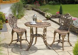 Bistro Home Decor Dining Room Burly Wood Mosaic Bistro Table With Double Chairs On