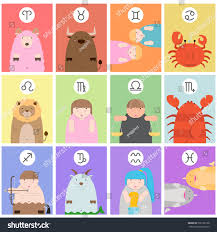 cute big fat twelve zodiac cartoon stock vector 505192168