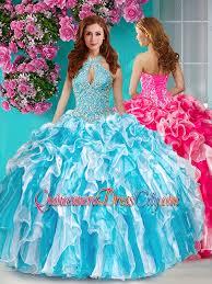 unique quinceanera dresses classical beaded and ruffled halter top unique quinceanera dress