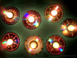 Diwali Decoration Tips And Ideas For Home Decorative Diyas Oil Wax Lamps Using Waste Cd U0027s Artxplorez