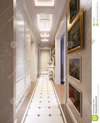 bright and cozy classic modern hall interior design stock