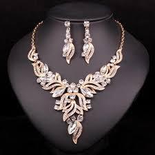 bridal necklace earring images New fashion indian rhinestone bridal jewelry set wedding prom jpg