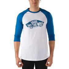 vans otw raglan t shirt white blue vans otw raglan t shirt white blue