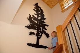 wooden pine tree wall pine tree custom laser cut metal railingart