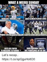 James Brown Meme - what a weird sunday rodgers throws 3 int jags clinch playoff spot
