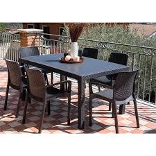 tavoli da giardino rattan set tavolo e 6 sedie da esterno in resina antiurto effetto