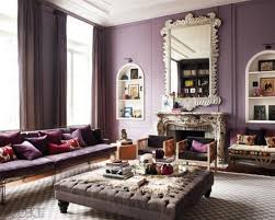 purple wall living room curtains ideas with grey coffee table on