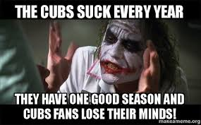 Cubs Suck Meme - the cubs suck every year they have one good season and cubs fans