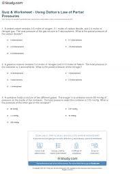 quiz u0026 worksheet using dalton u0027s law of partial pressures study com