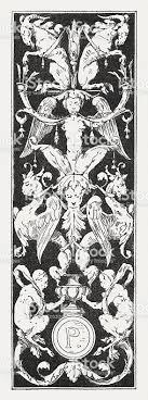 niello wood engraving after a renaissance ornament stock vector