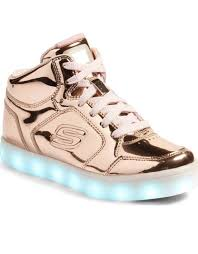 skechers energy lights sneakers gold metallic youth