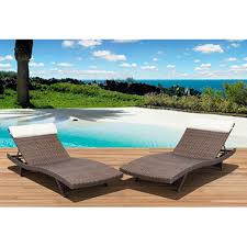 cavalier synthetic wicker patio lounge chairs choice of brown or