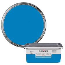 colours electric blue matt emulsion paint 2 5l departments diy