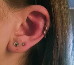 hoop cartilage piercing did these two cartilage piercings the two hoops on this ear