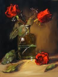 christine bray red roses in glass vase 12 x 9 on panel
