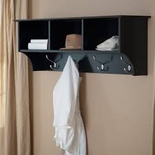 black and silver wall mount coat rack with three cubby shelves of