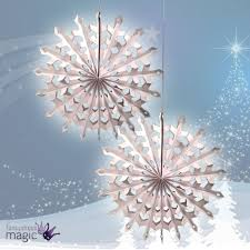 set 2 large white honeycomb snowflakes christmas fan hanging