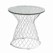 Wire Side Table Modern Wire Side Table With Glass Top Galvanized Frame Suitable