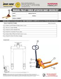 manual pallet jack operator checklist by bigjoelift issuu