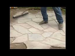 How To Make A Flagstone Patio With Sand Flagstone Installation With Enviro Bond Sand Youtube