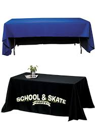 8 ft table cloth with logo personalized 6 ft 340d polyester 3 sided economy table cloth