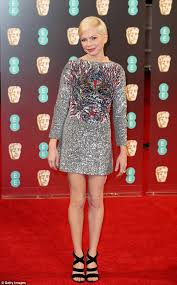 michelle williams stuns in silver on the bafta red carpet daily