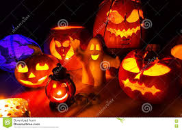 cute halloween pumpkins at night halloween party background