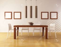 Dining Room Wood Table by Elegant Dining Room With Wooden Table And White Chair Rendering