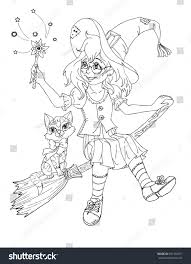 coloring page witch stock illustration 691458571 shutterstock