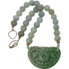 jade necklace images Carved green jade double dragon lock burmese jade necklace from jpg