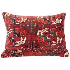 Ersari Rug Antique Pillow With Velvet Like Texture Made Out Of A Turkmen Rug