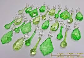 25 emerald u0026 sage green chandelier drops glass crystals droplets