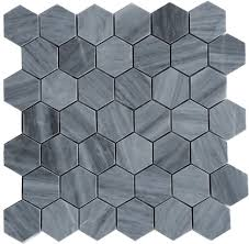 Marble Mosaic Floor Tile Gray Polished 2 Hexagon Marble Mosaic Floor And Wall Tile