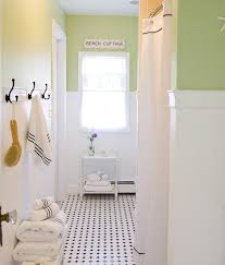 bathroom design eclectic black and white tile floor cottage