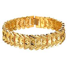 gold plated bracelet chain images Opk jewellry men 39 s 18k gold plated bracelet bangle cool chain link jpg