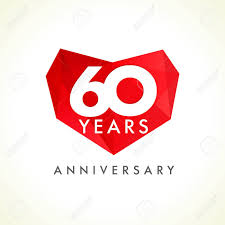 celebrating 60 years birthday anniversary 60 years hearts celebrating vector logo birthday