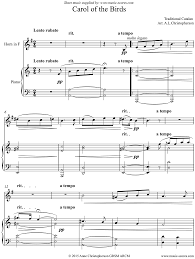 carol of the birds horn and piano sheet by