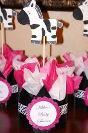 centerpiece for pink and black zebra print theme baby shower