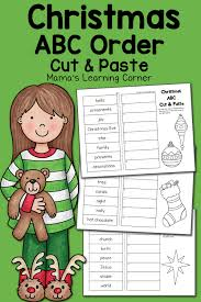 christmas abc order worksheets cut and paste mamas learning corner